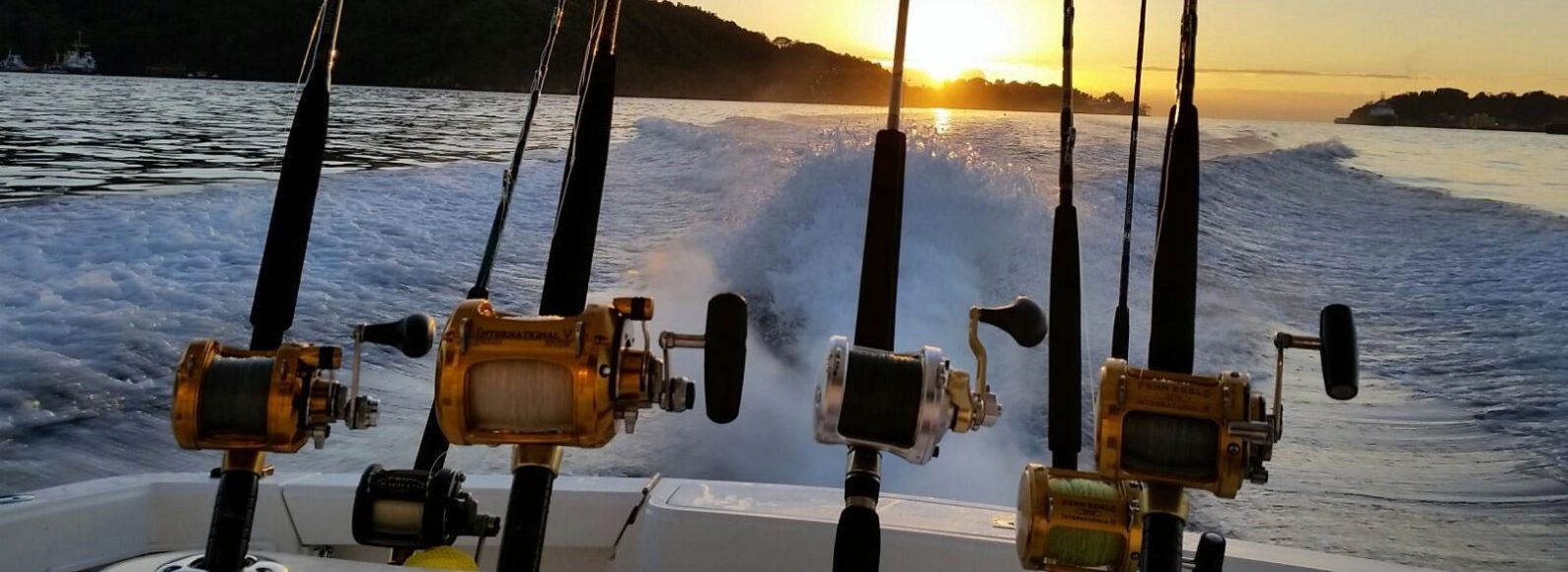 fishing poles on stern during sunset